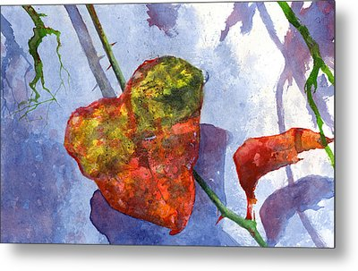 Metal Print featuring the painting Snow Leaf by Andrew King