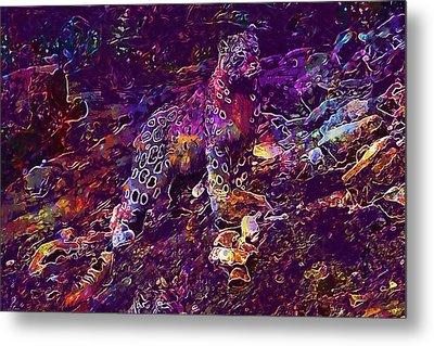 Metal Print featuring the digital art Snow Leopard Cat Animals  by PixBreak Art