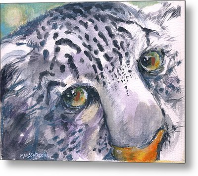Metal Print featuring the painting Snow Leopard by Mary Armstrong