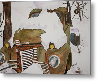 Snow Mobile Metal Print