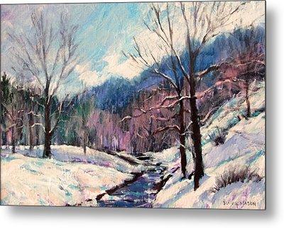 Snow On Goose Creek Metal Print by Bonnie Mason