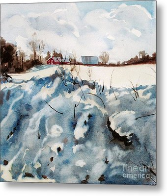 Metal Print featuring the painting Snow On Southwick by Elizabeth Carr