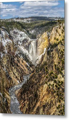 Snow On The Falls Metal Print by Yeates Photography