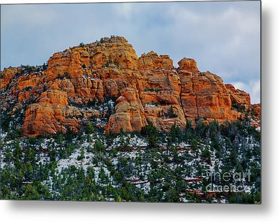 Snow On The Red Rocks Metal Print by Jon Burch Photography