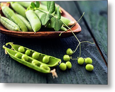 Snow Peas Or Green Peas Still Life Metal Print by Vishwanath Bhat
