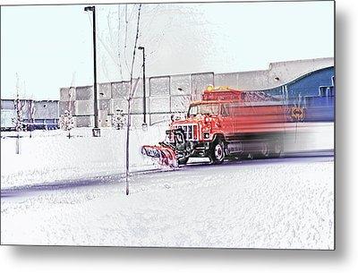 Snow Plow In Business Park 1 Metal Print by Steve Ohlsen