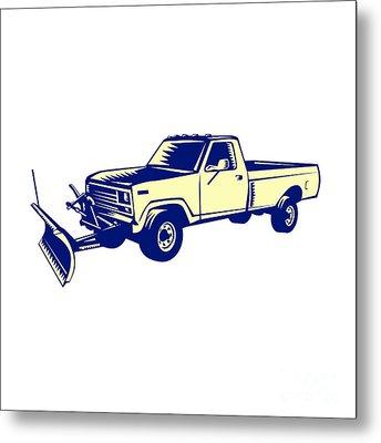 Snow Plow Truck Woodcut Metal Print by Aloysius Patrimonio