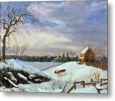 Snow Scene In New England Metal Print