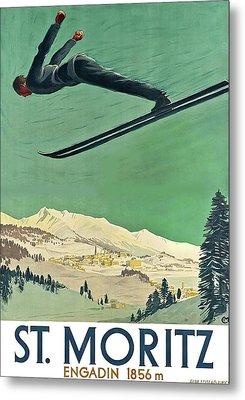 Snow Ski, St. Moritz, Engadin Metal Print