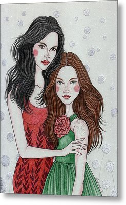 Snow White And Rose Red Metal Print by Snezana Kragulj