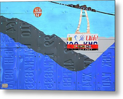 Snowbird Ski Resort Lift Utah License Plate Art Metal Print by Design Turnpike