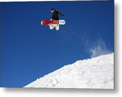 Snowboarder In Serre Chevalier France Metal Print by Pierre Leclerc Photography