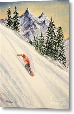 Metal Print featuring the painting Snowboarding Free And Easy by Bill Holkham