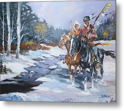 Snowbound Hunters Metal Print