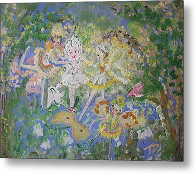 Metal Print featuring the painting Snowdrop The Fairy And Friends by Judith Desrosiers
