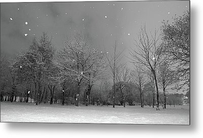 Snowfall At Night Metal Print by Mark Watson (kalimistuk)