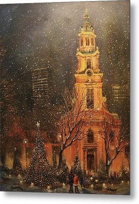 Snowfall In Cathedral Square - Milwaukee Metal Print by Tom Shropshire