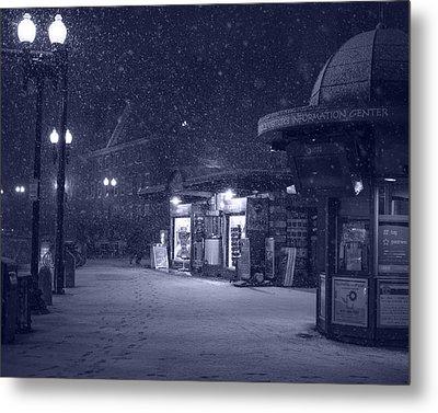Snowfall In Harvard Square Cambridge Ma Kiosk Monochrome Blue Metal Print