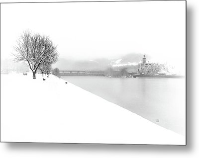 Metal Print featuring the photograph Snowfall On The River Danube At Ybbs by Menega Sabidussi