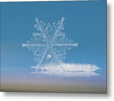 Metal Print featuring the photograph Snowflake Photo - Cloud Number Nine by Alexey Kljatov
