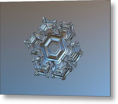 Metal Print featuring the photograph Snowflake Photo - Cold Metal by Alexey Kljatov