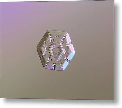 Metal Print featuring the photograph Snowflake Photo - Frozen Hearts by Alexey Kljatov