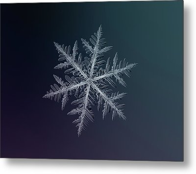 Metal Print featuring the photograph Snowflake Photo - Neon by Alexey Kljatov