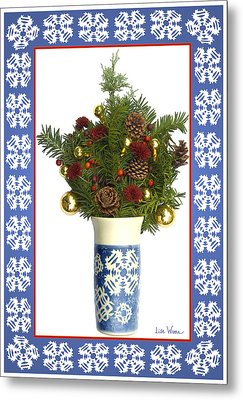 Snowflake Vase With Christmas Regalia Metal Print by Lise Winne
