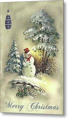 Metal Print featuring the digital art Snowman Christmas Card by Greg Sharpe