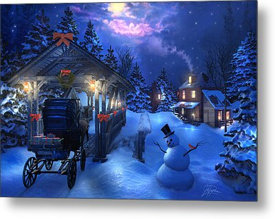 Snowman Crossing Metal Print by Joel Payne