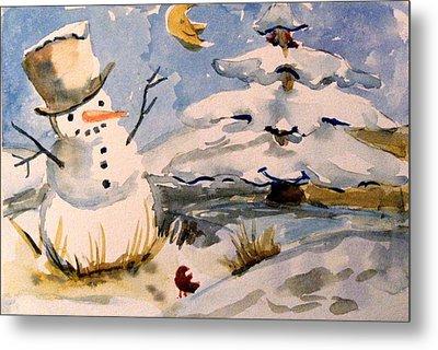Snowman Hug Metal Print by Mindy Newman