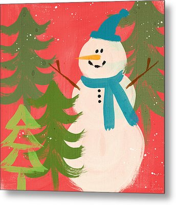 Snowman In Blue Hat- Art By Linda Woods Metal Print by Linda Woods