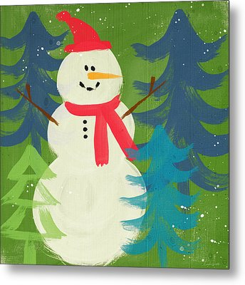 Snowman In Red Hat-art By Linda Woods Metal Print by Linda Woods