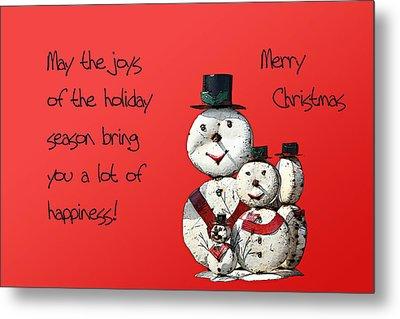 Snowmen For Christmas Metal Print by Linda Phelps