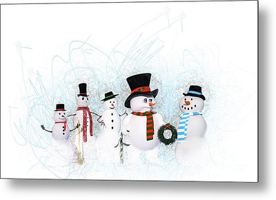 Metal Print featuring the painting Snowmen by Methune Hively