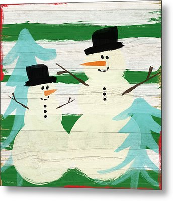 Snowmen With Blue Trees- Art By Linda Woods Metal Print