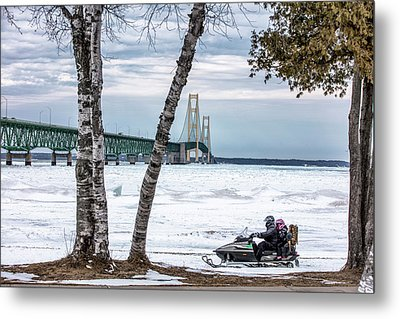 Metal Print featuring the photograph Snowmobile Michigan  by John McGraw