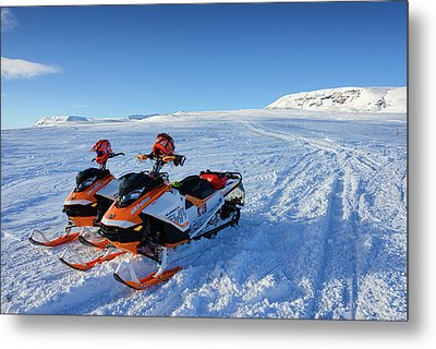 Metal Print featuring the photograph Snowmobiles In Iceland In Winter by Matthias Hauser