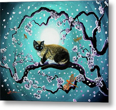 Snowshoe Cat And Dragonfly In Sakura Metal Print by Laura Iverson