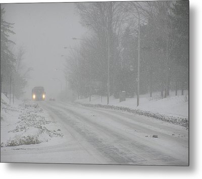 Snowstorm On City Street Metal Print by Richard Mitchell