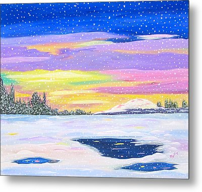 Metal Print featuring the painting Snowstorm by Phyllis Kaltenbach