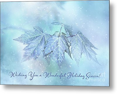 Snowy Baby Leaves Winter Holiday Card Metal Print