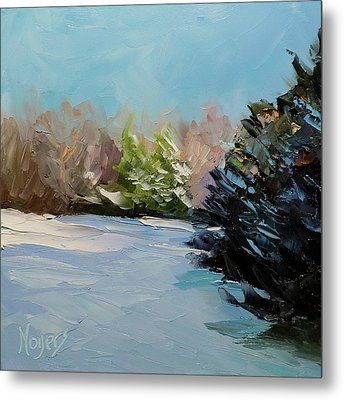 Snowy Bend Metal Print by Mike Moyers
