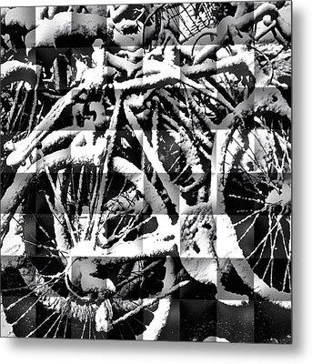 Snowy Bike Metal Print by Joan Reese