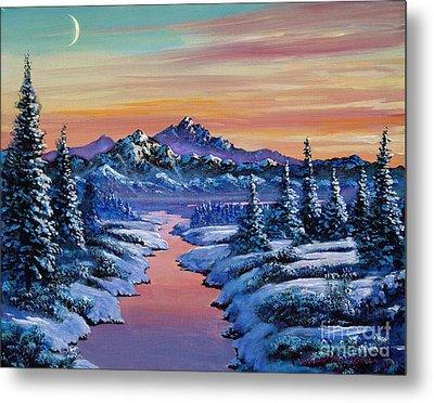 Snowy Creek Metal Print by David Lloyd Glover