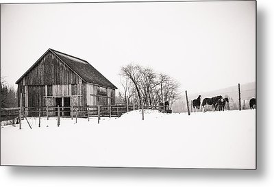 Snowy Day At The Farm Metal Print by Edward Myers
