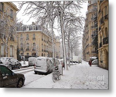 Snowy Day In Paris Metal Print