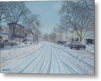 Snowy Day On Main Street, Sag Harbor Metal Print by Barbara Barber