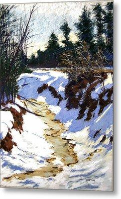 Snowy Ditch Metal Print by Mary McInnis