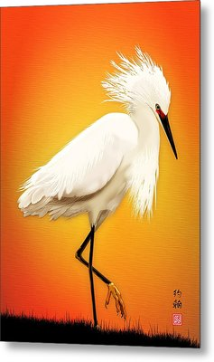 Snowy Egret At Sunset Metal Print by John Wills